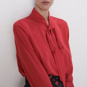 Zara • Red Tie Polyester Blouse